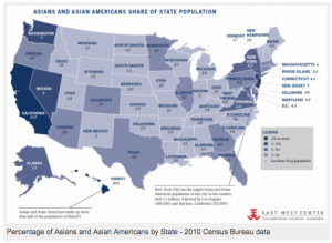 Asian population by State 2010 Census